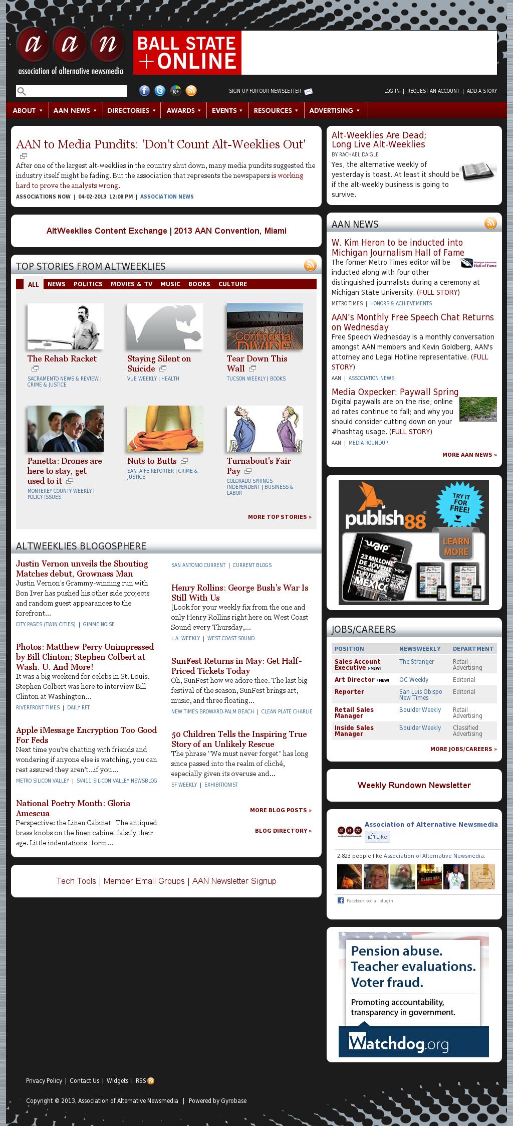 Association of Alternative Newsmedia at Monday April 8, 2013, 9:01 p.m. UTC