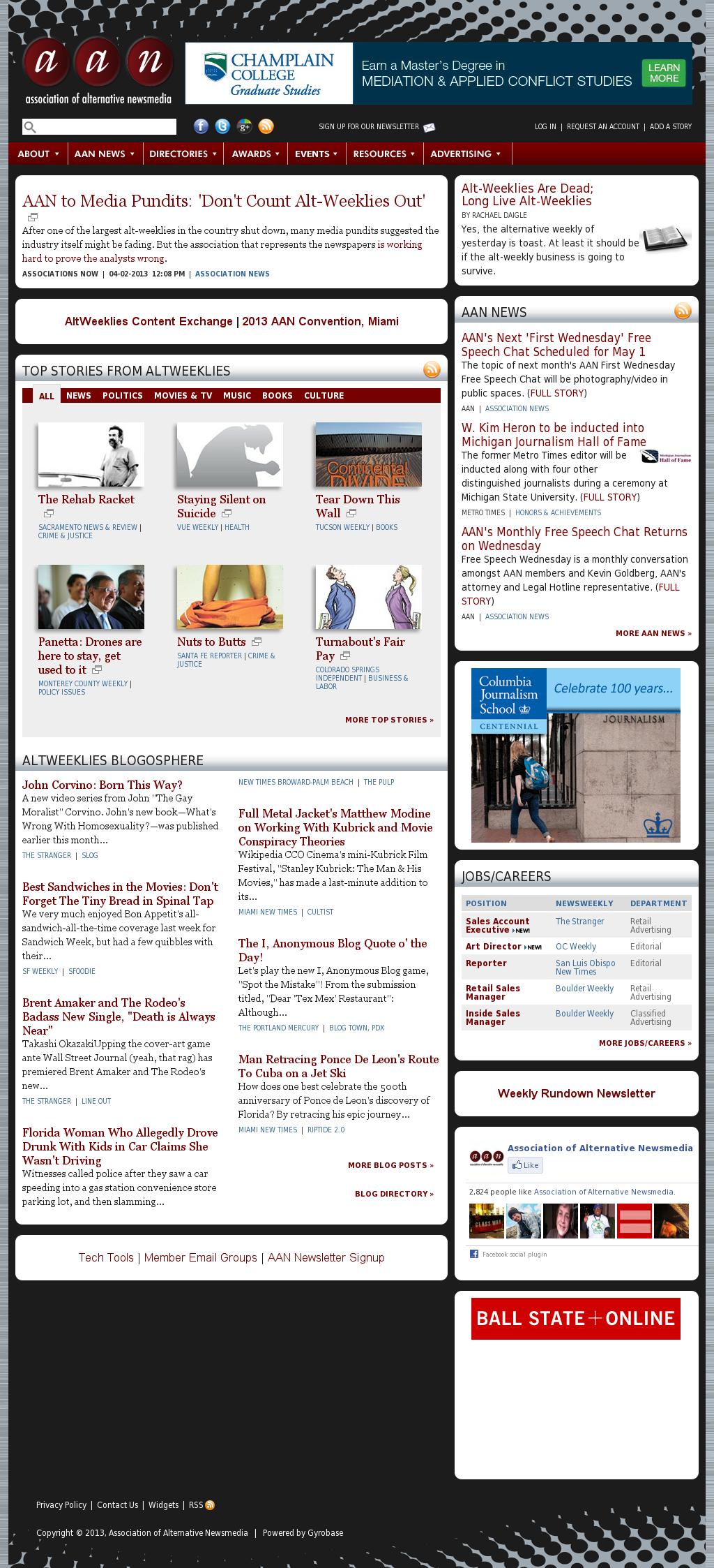 Association of Alternative Newsmedia at Tuesday April 9, 2013, 2 a.m. UTC